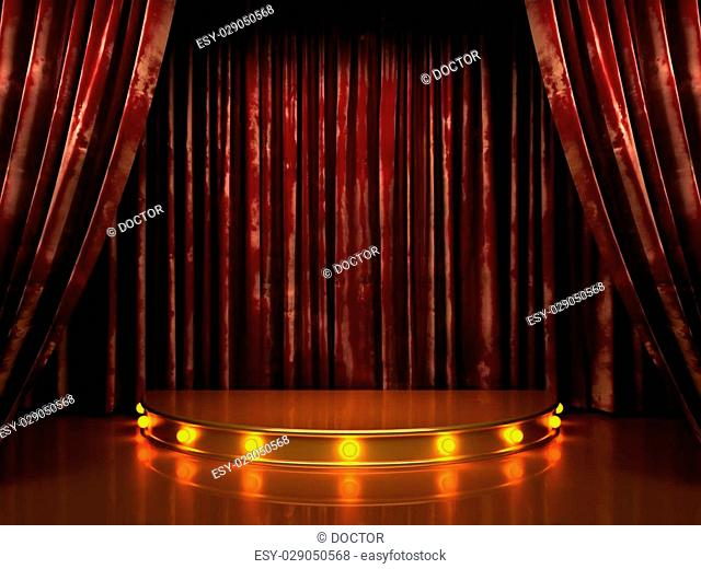 red velvet curtain stage with lights