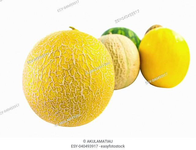 Various types of melons over white background