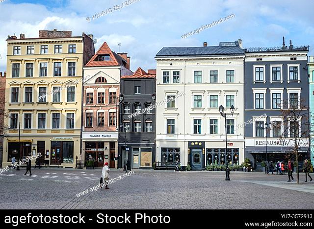 Tenement houses on the main square of Old Town in Torun, Kuyavian Pomeranian Voivodeship of Poland