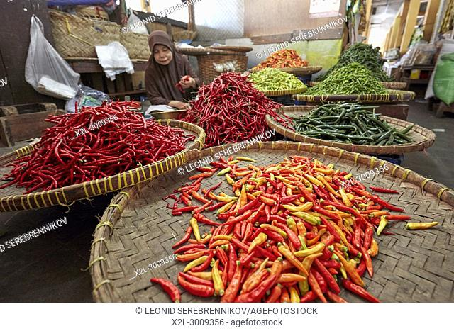 A selection of chili peppers for sale at Beringharjo Market (Pasar Beringharjo). Yogyakarta, Java, Indonesia
