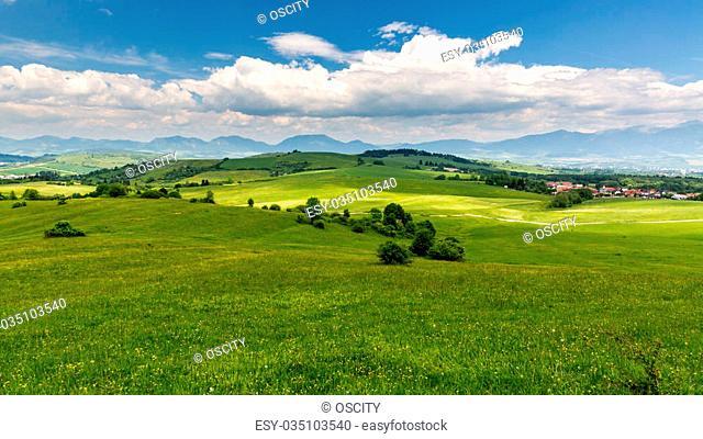 View of the nature in Liptov region between the cities Ruzomberok and Liptovsky Mikulas in Slovakia, summer 2015