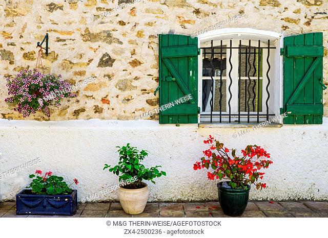 Windows with wrought iron bars, Grimaud, Var, Provence Alpes Cote d'Azur region, France