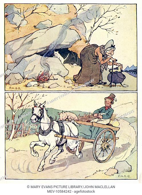 Nursery Rhymes -- two illustrations. Above -- an old woman outside a cave, with cooking pot, fire and cat. Below -- a man rides in a horse-drawn cart with a pig...