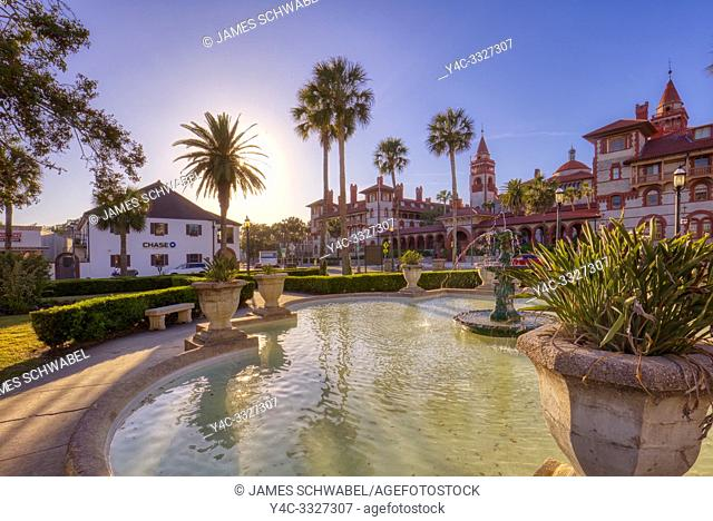 Reflecting pool in front of The Alcazar Hotel on the National Register of Historic Places built by Henry Flagler and opened in 1888 is currently the Lightner...