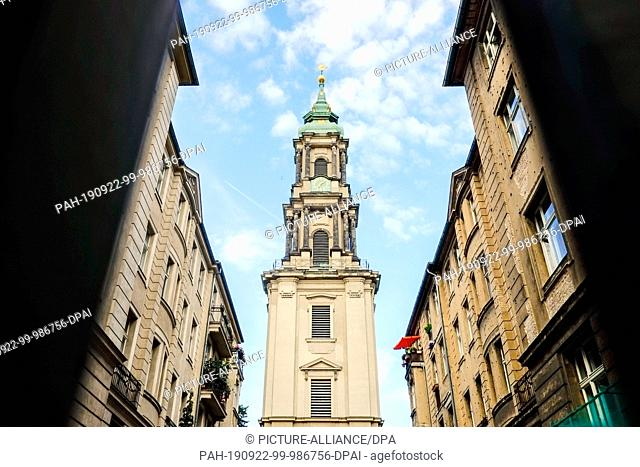 18 July 2019, Berlin: The tower of the Sophienkirche in the Große Hamburger Straße in the Mitte district. The African-American civil rights activist and Baptist...