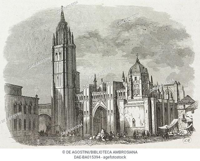 View of Toledo cathedral, Spain, engraving from L'album, giornale letterario e di belle arti, July 30, 1842, Year 9