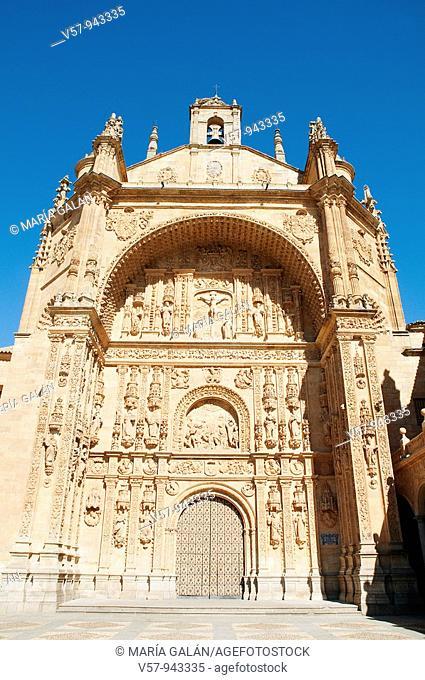 Facade of the church San Esteban monastery. Salamanca, Castilla Leon, Spain