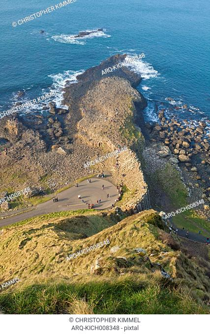 High angle view of the Giant's Causeway, Ireland