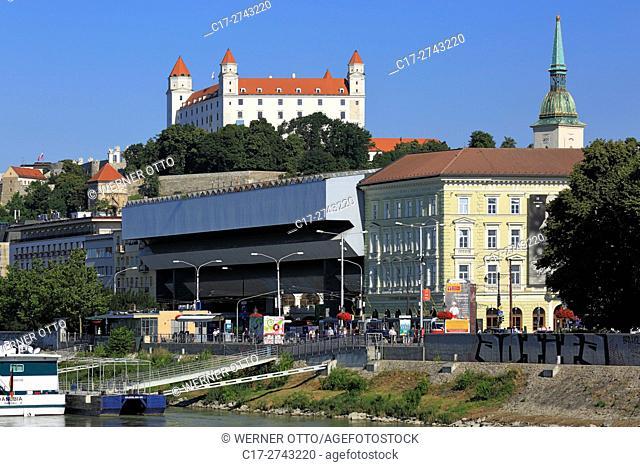 Slovak Republic, Slovakia, Bratislava, Capital City, Danube, Little Carpathians, Bratislava Castle on the castle hill, Danube promenade, parking garage