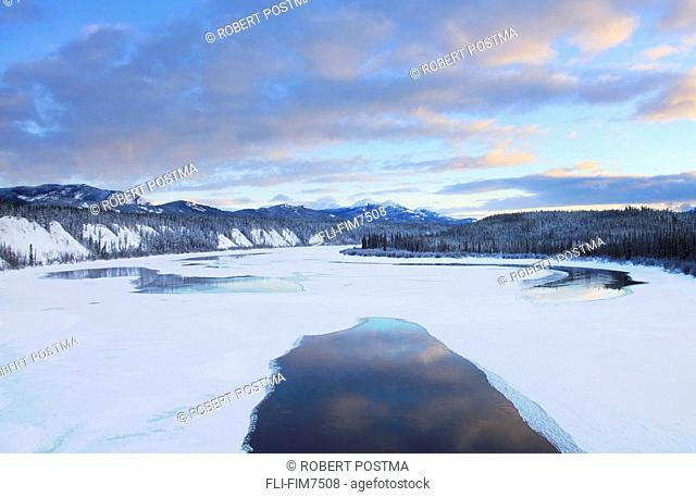 Sunset over Teslin River, Yukon