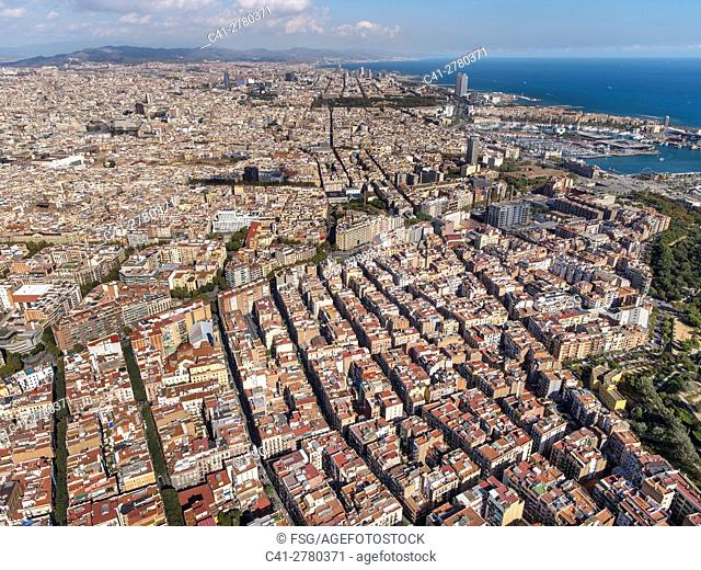 Quarter of El Poble Sec and coast line in Barcelona