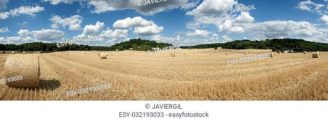 Straw bales in Sarthe department, Pays de la Loire, France