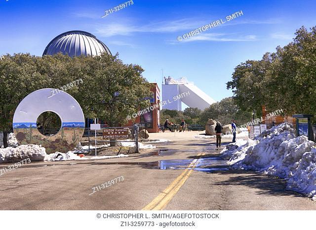 Doughnut shaped artwork at the entrance to Kitt Peak National Observatory in Arizona