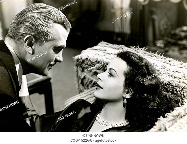 The actress Hedy Lamarr and John Loder in Dishonored Lady movie, USA 1947