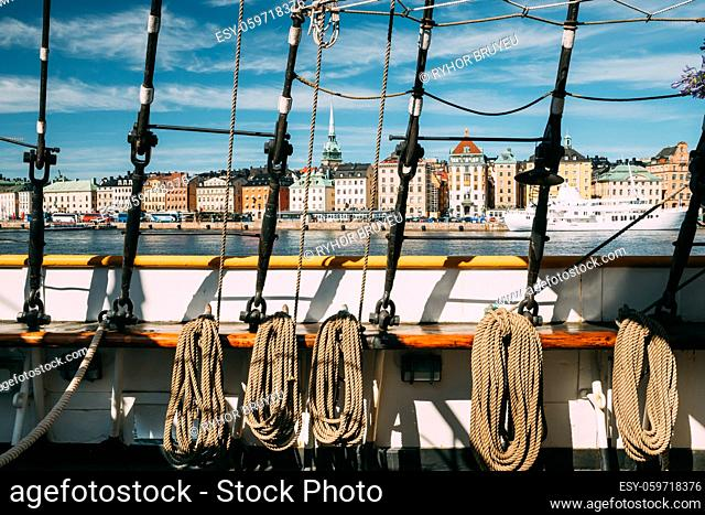 Stockholm, Sweden. Scenic View Of Embankment In Old Town Of Stockholm From Old Ship. Famous Gamla Stan In Summer Morning