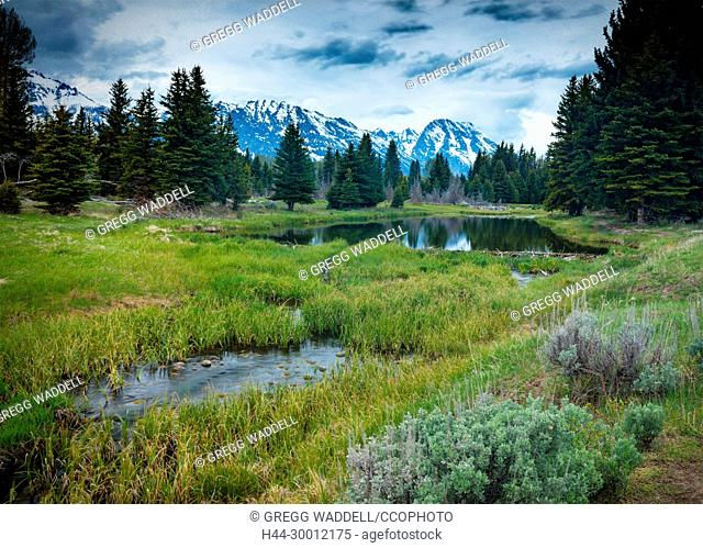 USA Refecting Pond Grand Tetons Wyoming