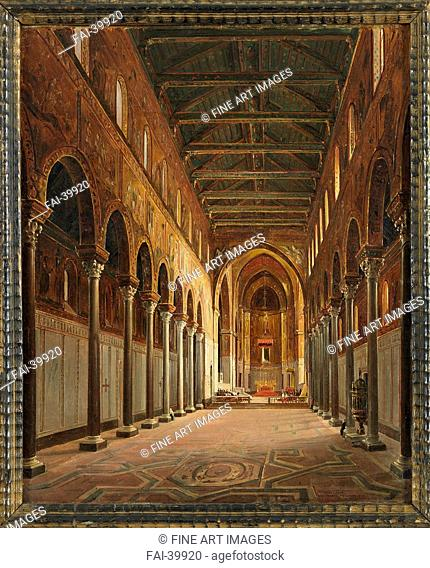 Interior of the Monreale Cathedral Santa Maria Nuova by Vervloet, Frans (1795-1872)/Oil on canvas/Romanticism/Belgium/Private Collection/Architecture