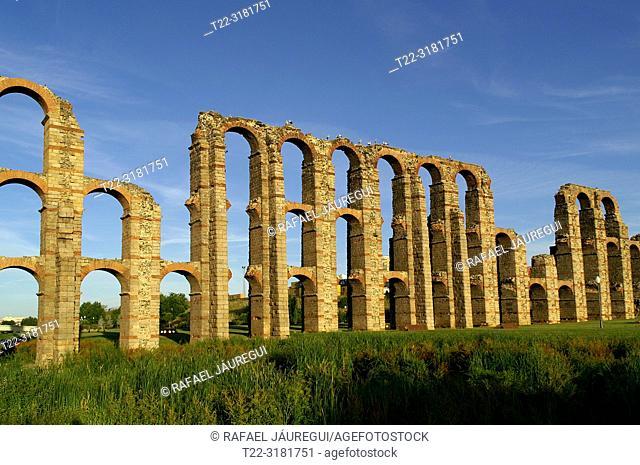 Merida (Spain). Roman Aqueduct of Los Milagros in the city of Mérida