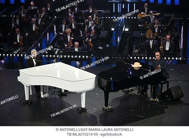 Claudio Baglioni, Antonello Venditti during Sanremo third evening. 69th Festival of the Italian Song. Sanremo, Italy 07 Febr 2019