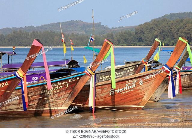 Thailand, Krabi, Ao Nang, Nopparat Thara Beach, boats