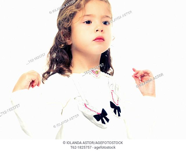 Little girl playing dress princess