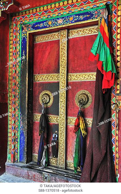 Wooden door of Lamayuru Temple