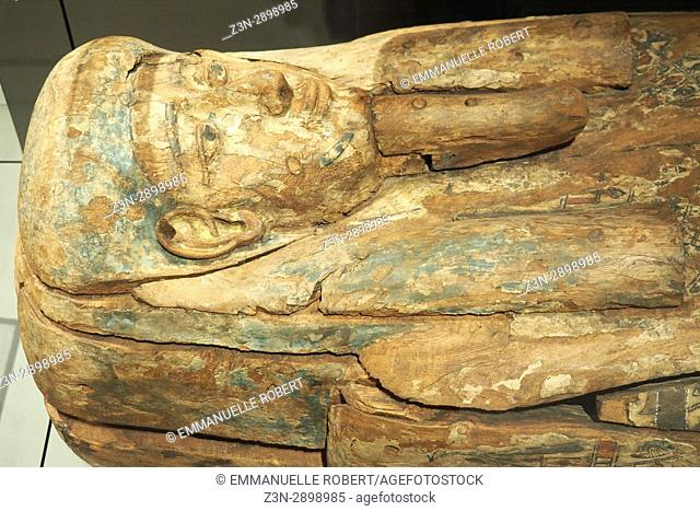 Egyptian sarcophagus, Eguptian musuem, Turin, Italy, Europe