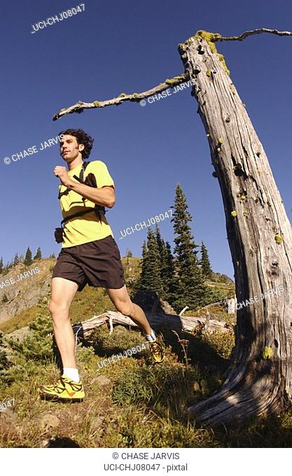 Man jogging in mountain setting