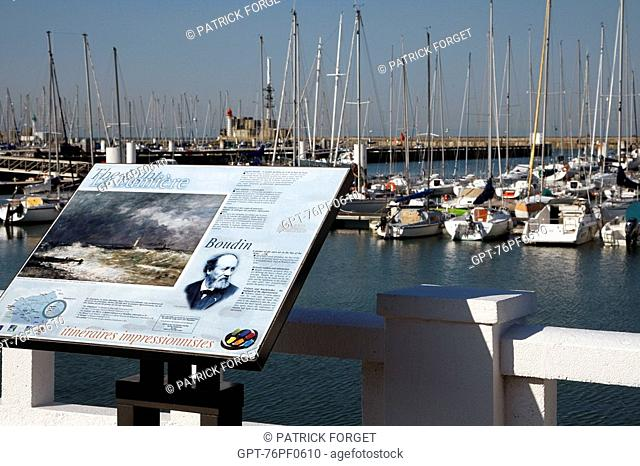 IMPRESSIONIST ITINERARIES, PAINTING BY BOUDIN EXHIBITED IN FRONT OF THE FISHING PORT, LE HAVRE, SEINE-MARITIME 76, NORMANDY, FRANCE