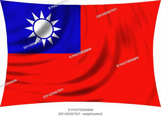 Flag of the Republic of China, ROC, Taiwan waving in wind isolated on white background. The national flag of Taiwan. Patriotic symbolic design