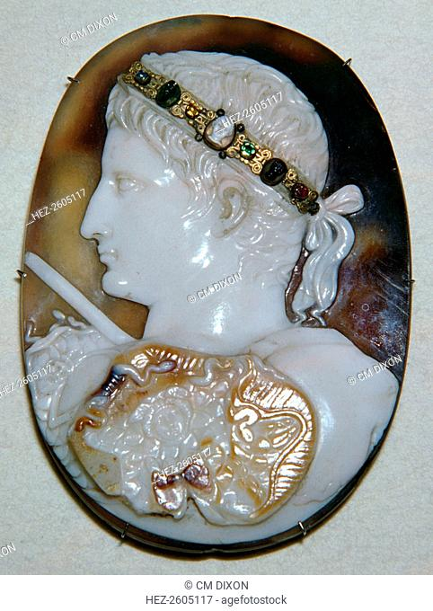 Roman cameo of the Emperor Augustus (September 23, 63 BC - August 19, 14 AD), with a diadem that was added in the middle ages