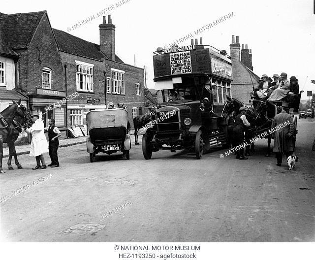 Bus on a street in Amersham, Buckinghamshire