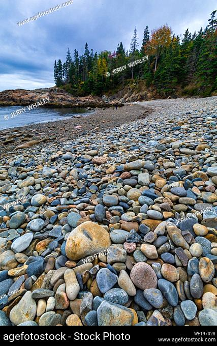 Smooth Colorful Stones on Little Hunters Beach in Acadia National Park, Maine
