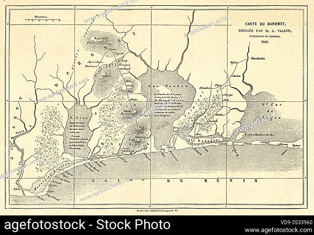 Old map of the Gulf of Benin, Dahomey Guinea. Central Africa, Old 19th century engraved illustration, Le Tour du Monde 1863