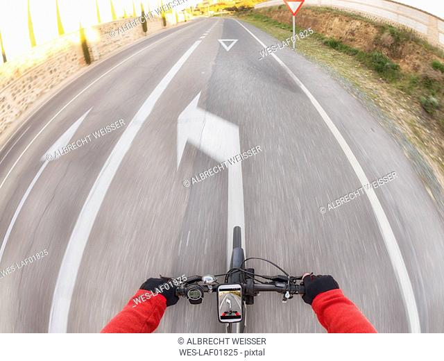 Personal perspective of cyclist on a street
