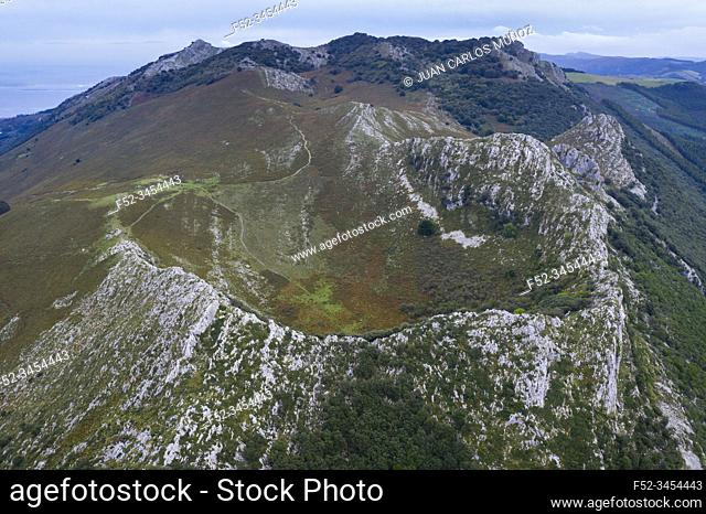 Cerredo Mountain, Aerial View, Islares, Castro Municipality, Montaña Oriental Costera, The Way of Saint James, Cantabrian Sea, Cantabria, Spain, Europe