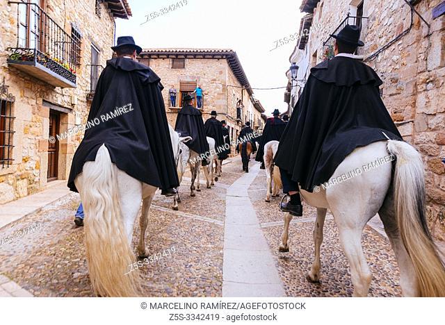 "The riders passing through the old village. Feast ""La Caballada"". Atienza, Guadalajara, Castilla La Mancha, Spain, Europe"