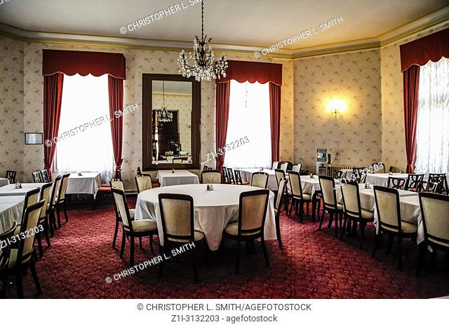 The Dining Room with red carpet at the Hotel Imperial in Opatija, Croatia
