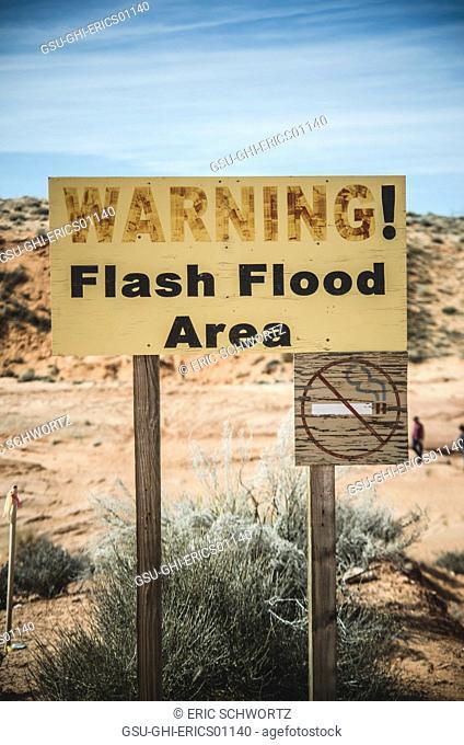 Flash Flood Warning Sign, Lower Antelope Canyon, Arizona, USA