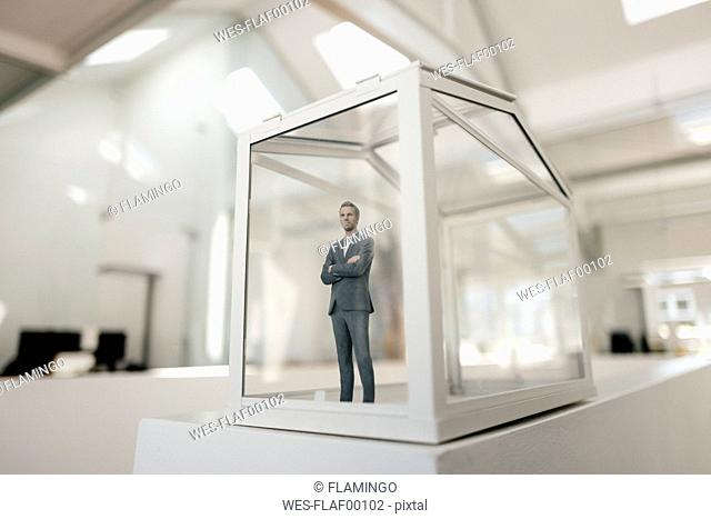 Businessman figurine standing in glasshouse