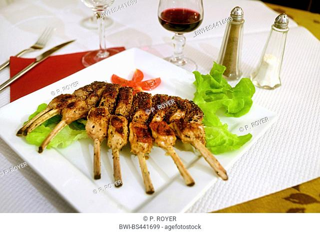 served rack of lamb in a restaurant, France, Corsica