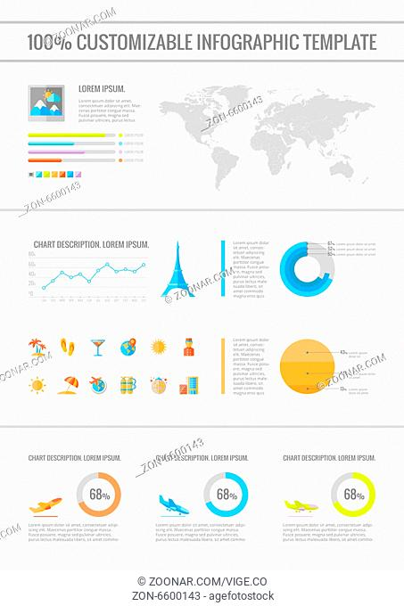 Travel Infographic Template. Vector Customizable Elements