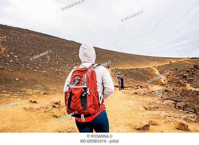 Hikers on hiking trail, Haleakala National Park, Maui, Hawaii