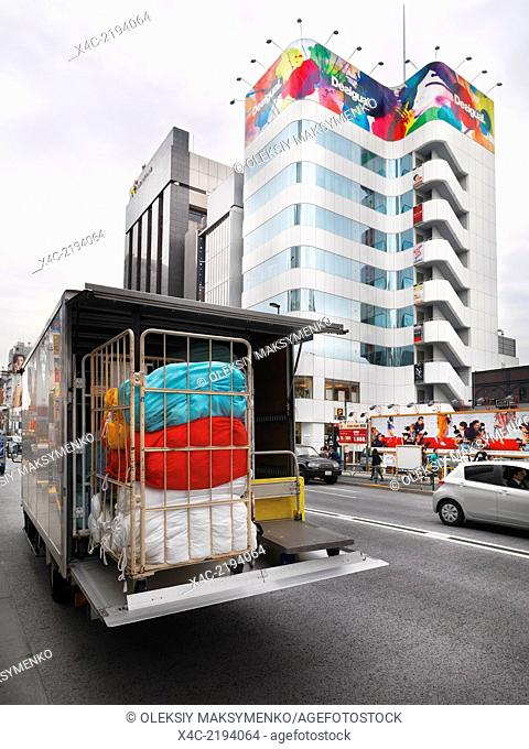 Delivery truck with colorful load on a street in Tokyo, Japan