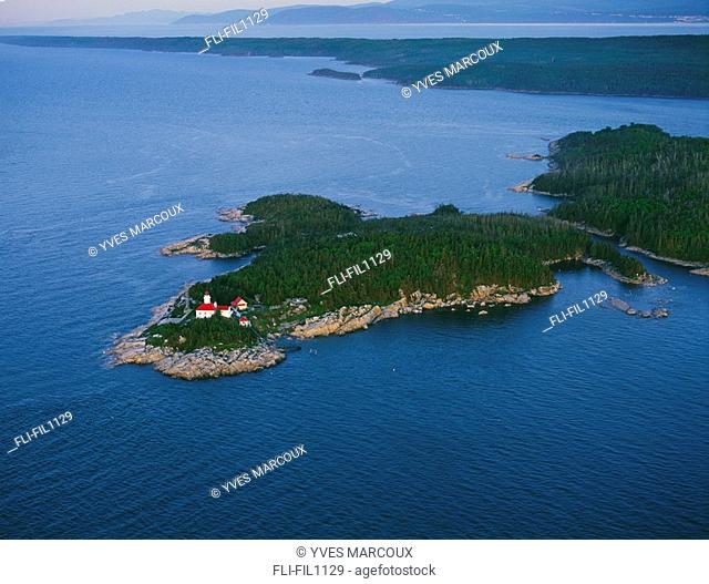 View of lighthouse on Iles du Pot, L'Eau-de-Vie,Saguenay-St Lawrence Marine Park, Bas-Saint-Laurent, Quebec