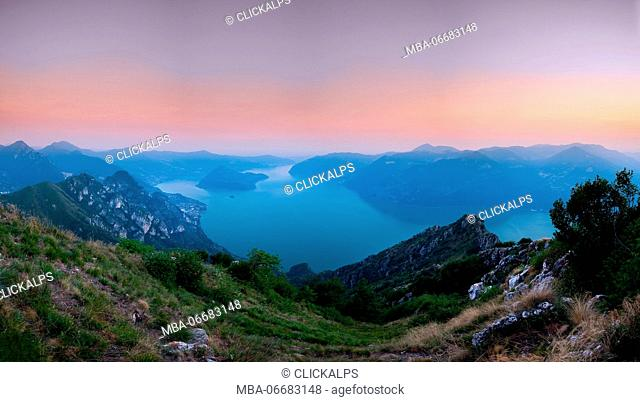 Corna trenta passi, Lombardy, italy Iseo lake and Montisola taken at sunset from the top of Corna trenta passi, mountain of Prealpi Bresciane