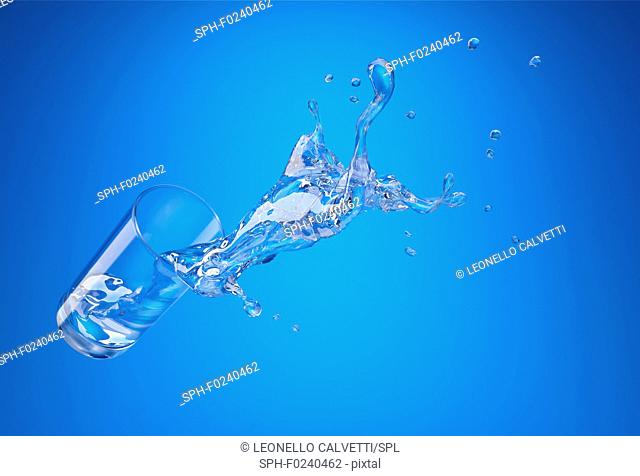 Glass with spilling water splash. perspective view. On blue background