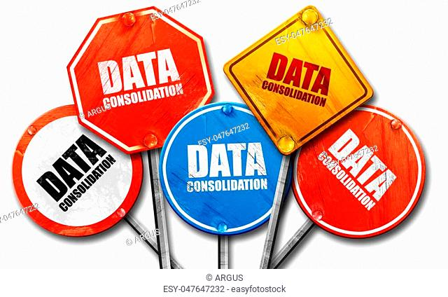 data consolidation, 3D rendering, rough street sign collection