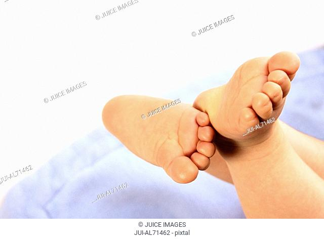 High angle close-up of a baby's feet