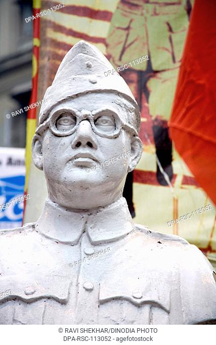 Statue of national leader and freedom fighter Netaji Subhash Chandra Bose ; Bada bazaar ; Calcutta now Kolkata ; West Bengal ; India